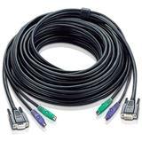 5.00m ATEN Technology KVM Anschlusskabel VGA 15pol Stecker + 2xPS2 Stecker auf VGA 15pol Buchse + 2xPS2 Stecker Schwarz