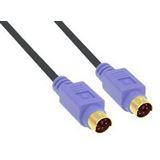 (€1,65*/1m) 3.00m InLine PS/2 Anschlusskabel Premium-Line Stecker auf PS/2 Stecker Schwarz vergoldet / violette Stecker