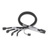 (€32,95*/1m) 1.00m Adaptec SAS Anschlusskabel SFF-8087 Stecker auf 4xSATA Stecker Schwarz Sideband