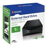 "HDE 1000GB Verbatim External Hard Drive 3.5"" (8.89cm) Schwarz USB2.0/eSATA"