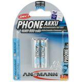 ANSMANN DECT HR03 Nickel-Metall-Hydrid AAA Micro Akku 800 mAh 2er Pack