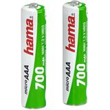 Hama HR03 Nickel-Metall-Hydrid AAA Micro Akku 700 mAh 2er Pack