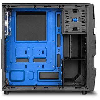 Sharkoon VG5-W mit Sichtfenster Midi Tower ohne Netzteil schwarz/blau