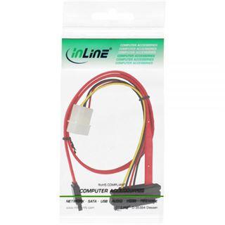 """(€15,90*/1m) 0.50m InLine SAS 6Gb/s Adapterkabel SATA Stecker auf SFF-8482 Stecker + 5,25"""" Molex Strom Stecker Schwarz"""
