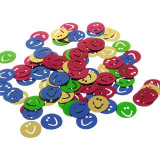 "SUSY CARD Streuschmuck ""Smiley"", aus Folie, farbig sortiert"