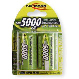 ANSMANN Akkus D / Mono Nickel-Metall-Hydrid 5000 mAh 2er Pack