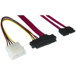 """0.75m Good Connections SAS 3Gb/s Anschlusskabel SFF-8482 Stecker + 5,25"""" Molex Strom Stecker auf 2xSATA Stecker Rot"""