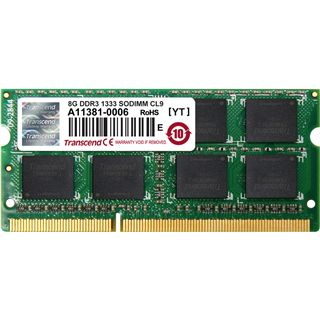 8GB Transcend JetRAM DDR3-1333 SO-DIMM CL9 Single