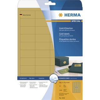 Herma 4102 gold Universal-Etiketten 4.83x2.54 cm (25 Blatt (1100 Etiketten))