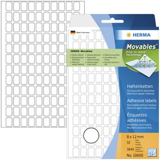Herma 10600 ablösbar Vielzwecketiketten 0.8x1.2 cm (32 Blatt (3840 Etiketten))
