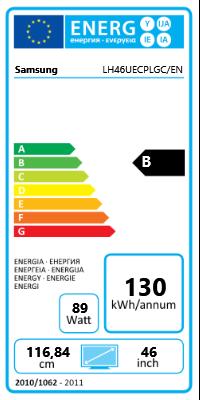 "46"" (116,84cm) Samsung LH46UECPLGC/EN schwarz 1920x1080 2xHDMI 1.3/1xVGA/1xKomponenten (YUV)/1xComposite/DVI-D/2xDisplayPort 1.2/seriell"
